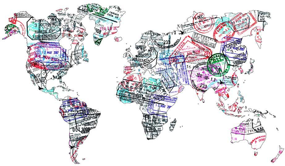 colonie de vacances zigo avec map monde dessinée aec des tampons de visa étranger